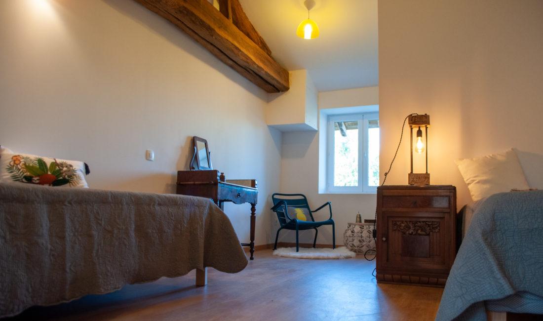 lit chambre brouilly du gite en beaujolais